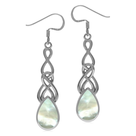 White Mother Of Pearl 925 Sterling Silver Long Celtic Weave Knot Dangle Earrings