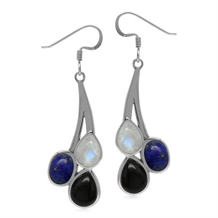 Natural Multi Gemstones Onyx Moonstone Lapis Lazuli 925 Sterling Silver Dangle Earrings