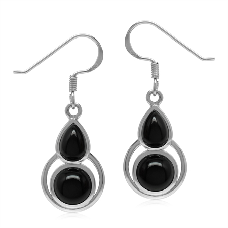 Natural Black Onyx 925 Sterling Silver Geometric Dangle Hook Earrings