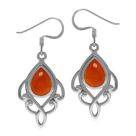 Genuine Carnelian 925 Sterling Silver Victorian Inspired Dangle Drop Earrings
