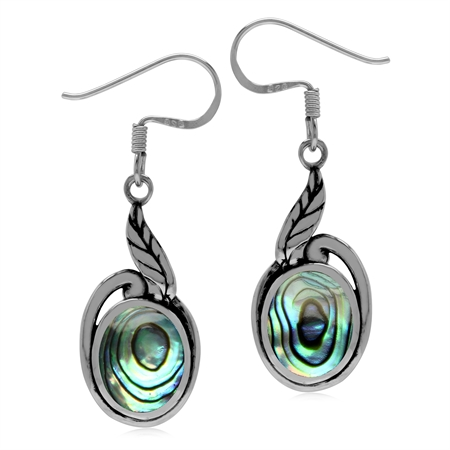 Abalone/Paua Shell 925 Sterling Silver Leaf Dangle Hook Earrings