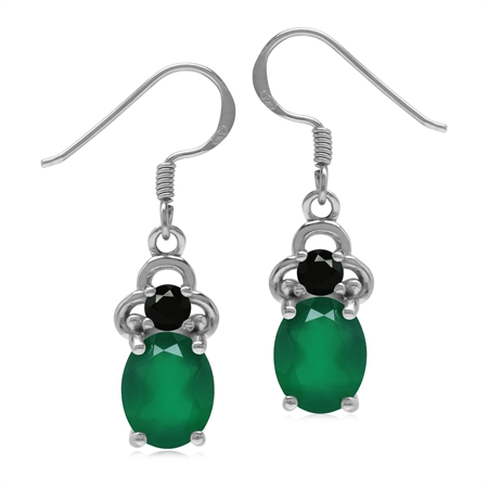 Genuine Oval 9*7 mm Green Onyx and Black Spinel 925 Sterling Silver Dangle Earrings