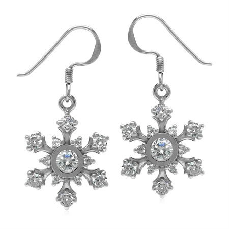 White Cubic Zirconia CZ  925 Sterling Silver Snowflake Dangle Earrings