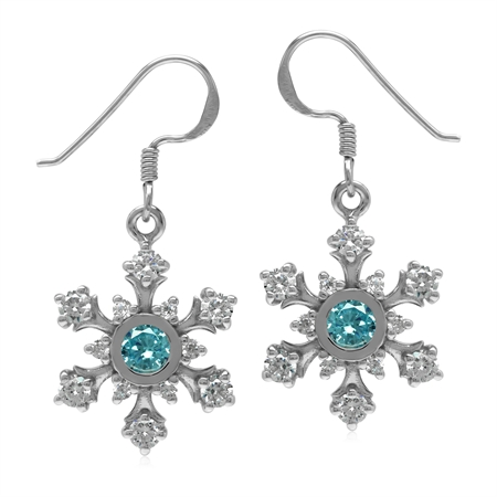 Synthetic Swiss Blue Topaz & White CZ 925 Sterling Silver Snowflake Dangle Earrings