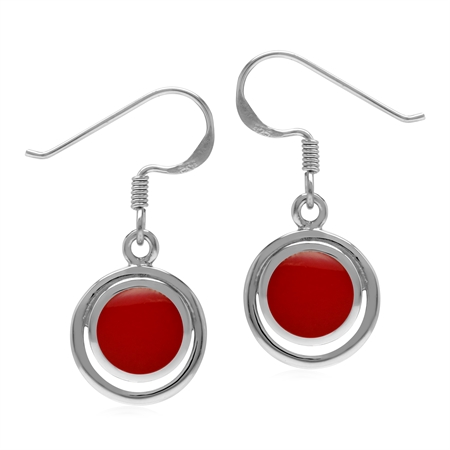Created Red Coral Round 7 mm 925 Sterling Silver Geometric Dangle Hook Earrings