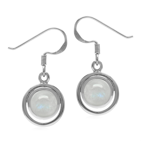 Natural Rainbow Moonstone Round 7 mm 925 Sterling Silver Geometric Dangle Hook Earrings