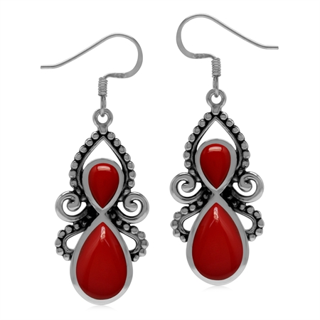 Created Red Coral 925 Sterling Silver Victorian Inspired Dangle Hook Earrings