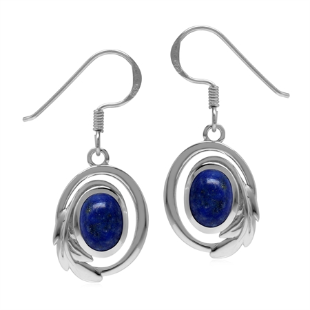 Natural Lapis Lazuli 925 Sterling Silver Circle Leaf Dangle Hook Earrings
