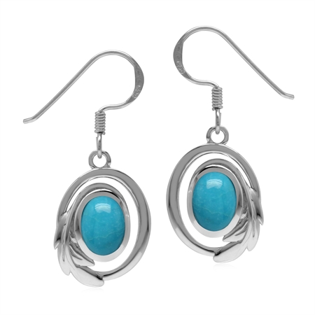 Genuine Arizona Turquoise 925 Sterling Silver Circle Leaf Dangle Hook Earrings