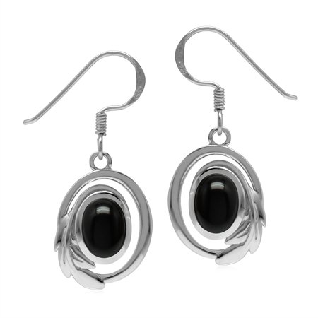 Natural Black Onyx 925 Sterling Silver Circle Leaf Dangle Hook Earrings