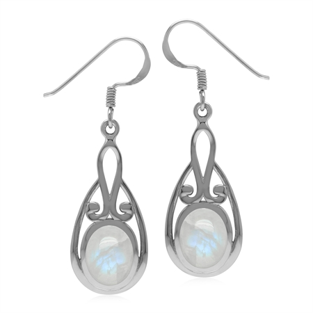 Natural Rainbow Moonstone Oval 9x7 mm 925 Sterling Silver Dangle Hook Earrings