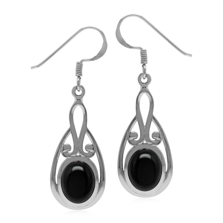 Natural Black Onyx Oval 9x7 mm 925 Sterling Silver Dangle Hook Earrings