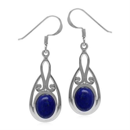 Natural Lapis Lazuli Oval 9x7 mm 925 Sterling Silver Dangle Hook Earrings