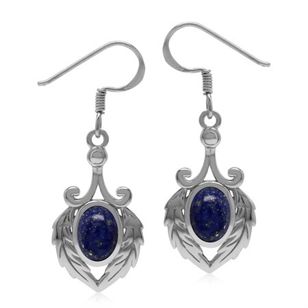 Natural Lapis Lazuli 925 Sterling Silver Victorian Feather Dangle Hook Earrings