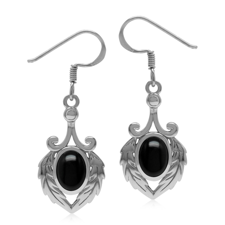 Natural Black Onyx 925 Sterling Silver Victorian Feather Dangle Hook Earrings