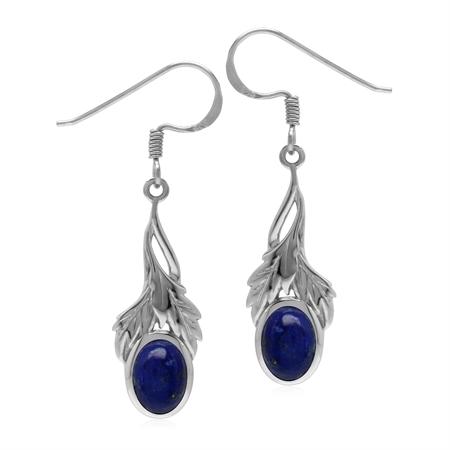 Natural Lapis Lazuli 925 Sterling Silver Leaf Dangle Hook Earrings