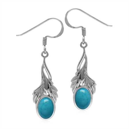 Genuine Arizona Turquoise  925 Sterling Silver Leaf Dangle Hook Earrings