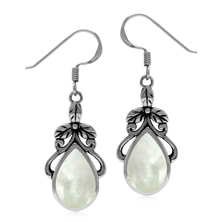 White Mother Of Pearl 925 Sterling Silver Floral Leaf Dangle Hook Earrings