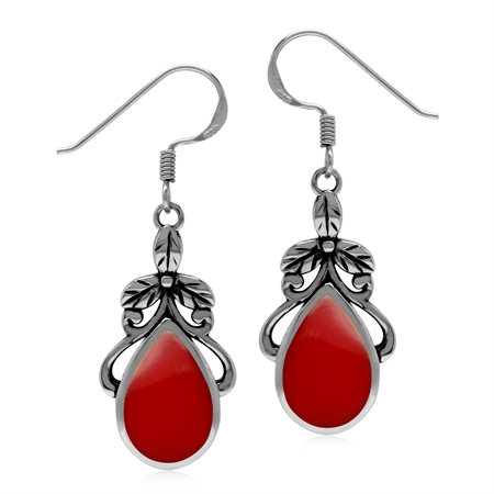 Created Red Coral 925 Sterling Silver Floral Leaf Dangle Hook Earrings