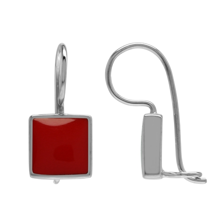 Created 9 mm Square Red Coral Stone Inlay 925 Sterling Silver Basic Hook Lock Earrings