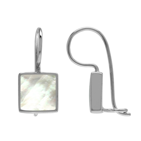 Natural 9 mm Square White Mother Of Pearl Shell Inlay 925 Sterling Silver Basic Hook Lock Earrings