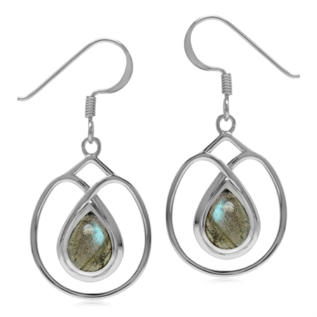 Natural Labradorite Stone 925 Sterling Silver Dangle Hook Wire Earrings