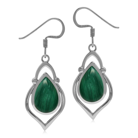 Created 12x8mm Green Malachite Stone 925 Sterling Silver Victorian Inspired Drop Dangle Earrings