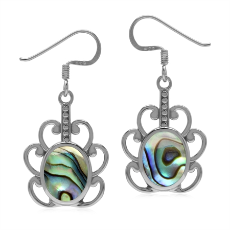 Abalone/Puau Shell Inlay 925 Sterling Silver Victorian Swirl Dangle Hook Earrings