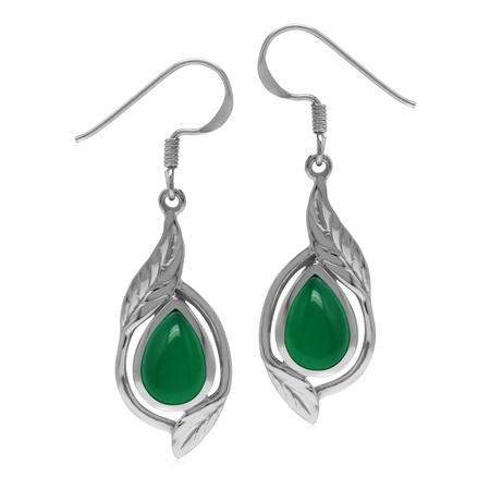 Genuine Pear Shape 10x7 mm Green Onyx Stone 925 Sterling Silver Leaf Drop Dangle Hook Earrings
