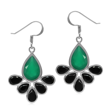Emerald Green Agate and Black Spinel Stone 925 Sterling Silver Drop Fan Shape Dangle Hook Earrings