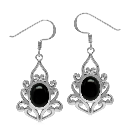 Natural 9x7 mm Black Onyx Stone 925 Sterling Silver Victorian Inspired Drop Dangle Hook Earrings