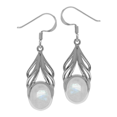 Natural Oval 10x8 mm Rainbow Moonstone 925 Sterling Silver Elegant Drop Dangle Hook Earrings