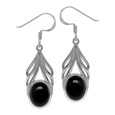Natural Oval 10x8 mm Black Onyx Stone 925 Sterling Silver Elegant Drop Dangle Hook Earrings