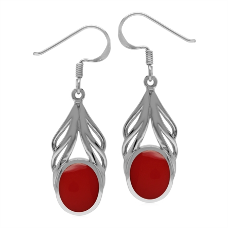 Created Oval 10x8 mm Red Coral Inlay 925 Sterling Silver Elegant Drop Dangle Hook Earrings