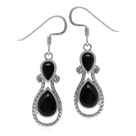 Roman Byzantine Style Natural Black Onyx Stone 925 Sterling Silver Rope Dangle Hook Earrings