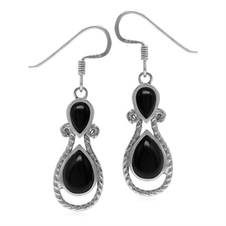 Natural Black Onyx Stone 925 Sterling Silver Rope Dangle Hook Earrings