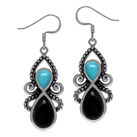 Natural Black Onyx and Blue Arizona Turquoise Stone 925 Sterling Silver Dangle Hook Earrings