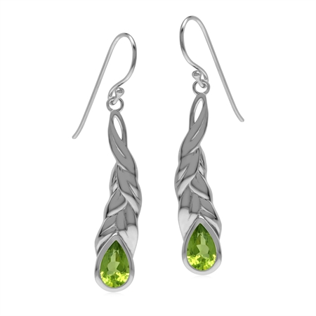Natural Green Peridot Stone 925 Sterling Silver Long Leaf Stick Dangle Earrings