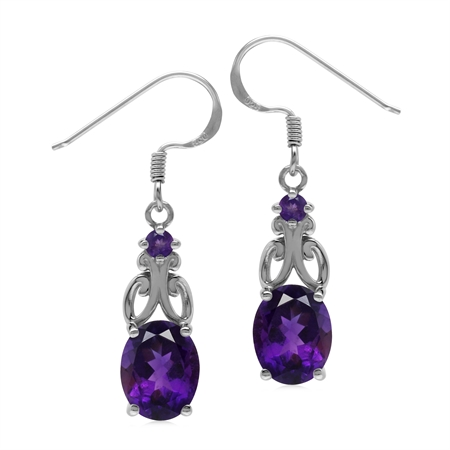 Genuine 5 Ctw African Amethyst 925 Sterling Silver Victorian Inspired Dangle Earrings