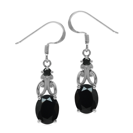 5.1 Ctw Genuine Black Onyx Stone 925 Sterling Silver Victorian Inspired Dangle Earrings