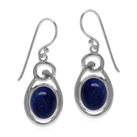 Blue Lapis Lazuli Oval 10x8 mm 925 Sterling Silver Contemporary Dangle Hook Earrings