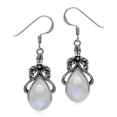 Natural Rainbow Moonstone 925 Sterling Silver Victorian Floral Drop Dangle Hook Earrings