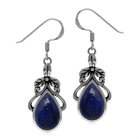 Natural Blue Lapis Lazuli Stone 925 Sterling Silver Victorian Floral Drop Dangle Hook Earrings