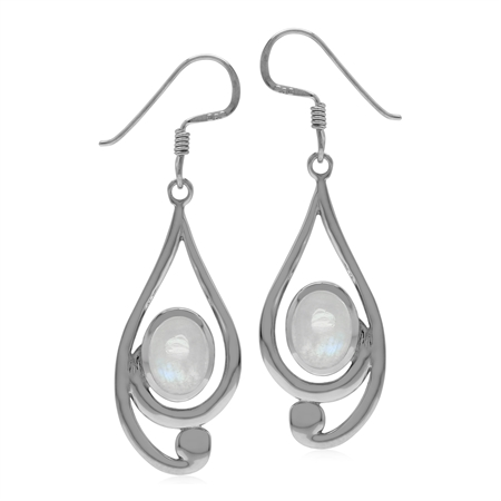 Natural Rainbow Moonstone 925 Sterling Silver Casual Swirl Drop Dangle Earrings