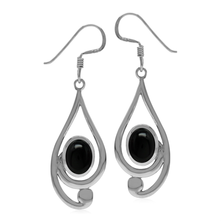 Natural Black Onyx Stone 925 Sterling Silver Casual Swirl Drop Dangle Earrings