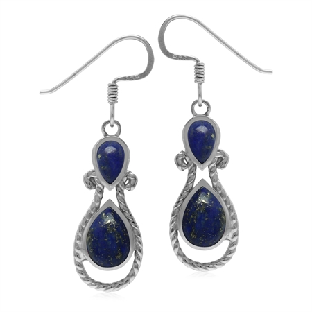 Roman Byzantine Style Natural Blue Lapis 925 Sterling Silver Rope Dangle Hook Earrings
