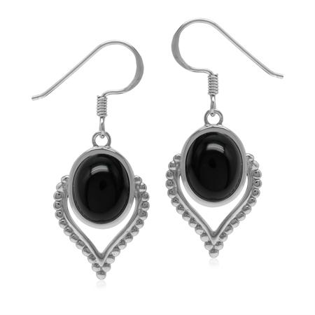 Bohemian Inspired Natural Black Onyx Gem 925 Sterling Silver Dangle Drop Earrings