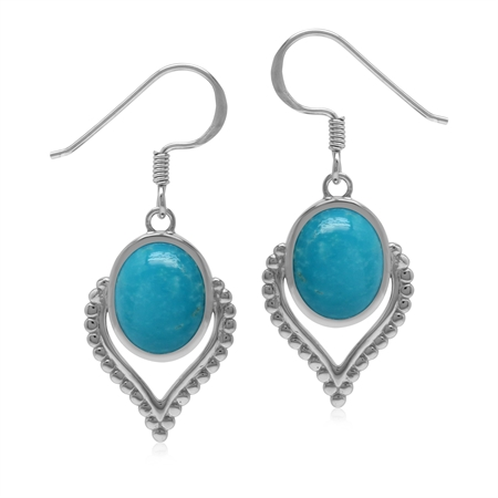 Oval 10x8 mm Genuine Arizona Blue Turquoise Gem 925 Sterling Silver Dangle Drop Earrings
