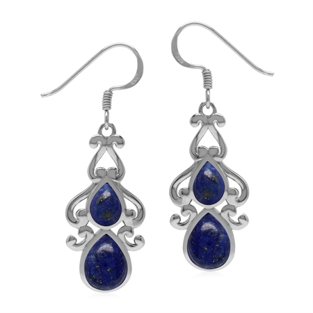 Vintage Inspired 925 Sterling Silver Drop Dangle Earrings with Natural Blue Lapis Lazuli Stone