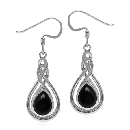 Celtic Style 925 Sterling Silver Drop Dangle Earrings with Natural Black Onyx Stone